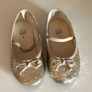GAP Toddler 8 Gold Glitter Ballet Flats - NWOT